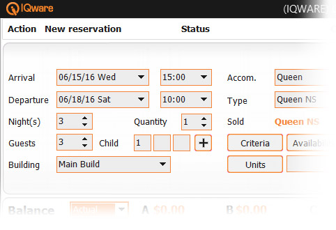 screenshot of IQpms's reservation system booking screen