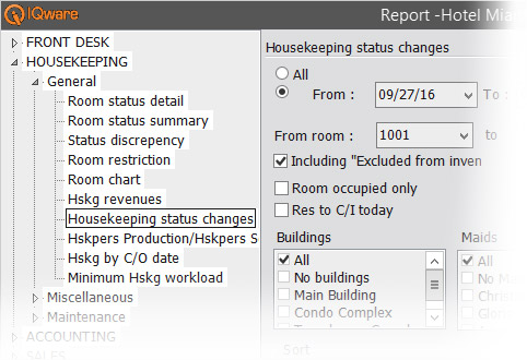 IQpms screenshot of housekeeping reporting