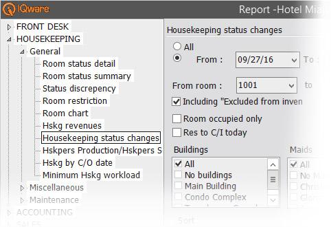 IQpms screenshot of housekeeping reporting