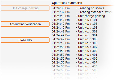 IQpms screenshot - night audit unit charge posting